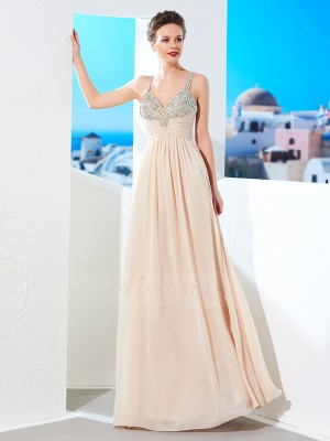 A-Line/Princess Floor-Length Spaghetti Straps Chiffon Sleeveless Beading Dresses