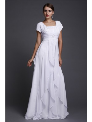 A-Line/Princess Square Short Sleeves Ruffles Chiffon Floor-Length Dresses