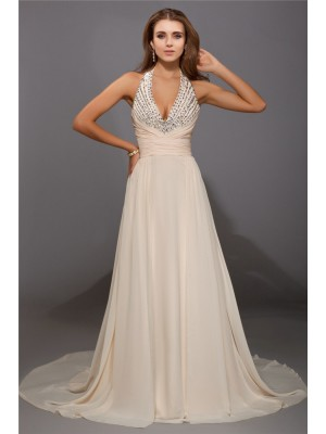Sheath/Column V-neck Sleeveless Beading Chiffon Sweep/Brush Train Dresses
