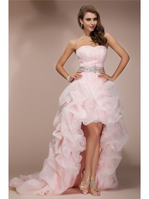 A-Line/Princess Sweetheart Sleeveless Beading Organza Asymmetrical Dresses