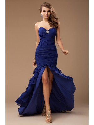 Trumpet/Mermaid Sweetheart Sleeveless Ruffles,Beading Chiffon Sweep/Brush Train Dresses