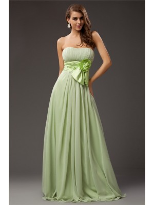 Sheath/Column Strapless Sleeveless Ruffles,Hand-Made Flower Chiffon,Elastic Woven Satin Floor-Length Bridesmaid Dresses