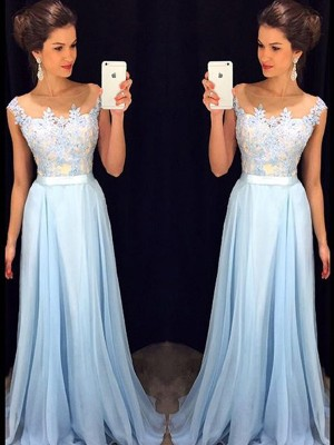 A-Line/Princess Sleeveless Sheer Neck Chiffon Sweep/Brush Train Applique Dresses