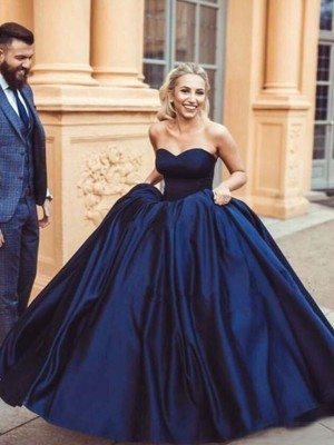 Ball Gown Sleeveless Sweep/Brush Train Satin Sweetheart Ruffles Dresses