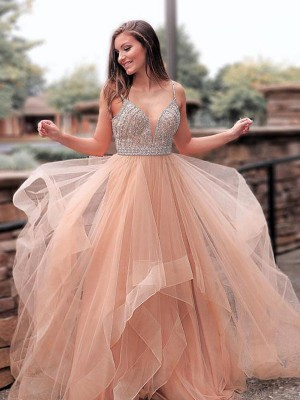 A-Line/Princess Sleeveless Sweep/Brush Train Tulle Straps Beading Dresses