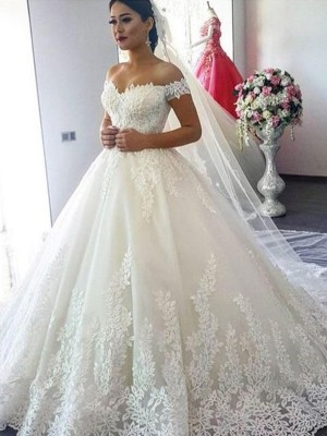 Ball Gown Tulle Off-the-Shoulder Sleeveless Sweep/Brush Train Wedding Dresses