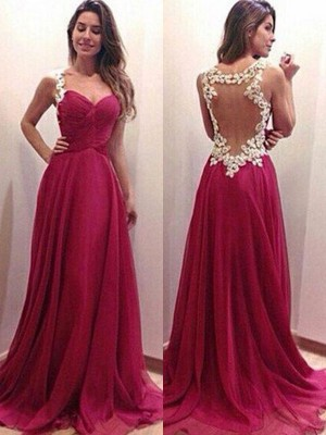 A-Line/Princess Chiffon Sweetheart Sleeveless Applique Sweep/Brush Train Dresses