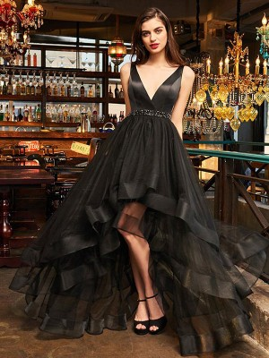 A-Line/Princess Organza V-neck Sleeveless Ruffles Asymmetrical Dresses