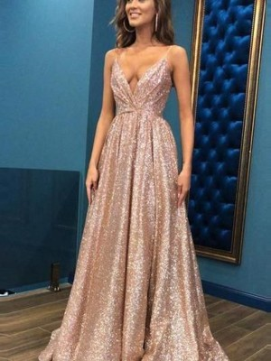 A-Line/Princess Sleeveless Spaghetti Straps Sequins Floor-Length Dresses