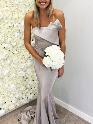 Trumpet/Mermaid Sleeveless Strapless Satin Sweep/Brush Train Ruffles Bridesmaid Dresses