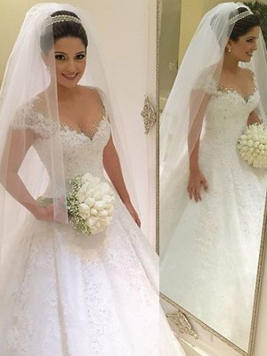 Ball Gown V-neck Tulle Sleeveless Beading Floor-Length Wedding Dresses