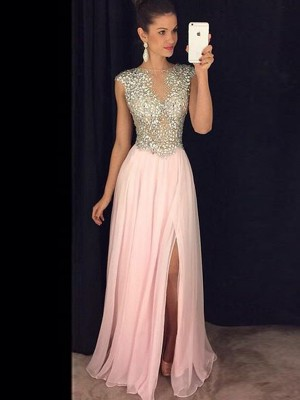 A-Line/Princess Bateau Chiffon Sleeveless Sequin Floor-Length Dresses