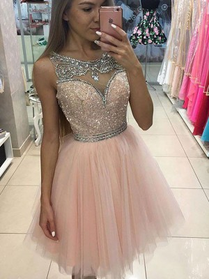 A-line/Princess Scoop Tulle Sleeveless Beading Short/Mini Dresses