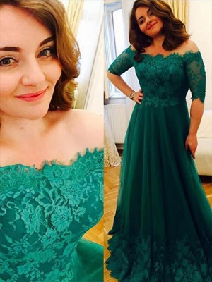 A-Line/Princess Off-the-Shoulder Tulle Short Sleeves Applique Floor-Length Dresses
