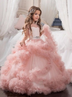 Ball Gown Short Sleeves Jewel Tulle Floor-Length Crystal Flower Girl Dresses