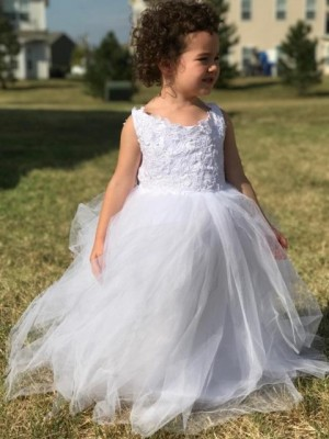 Ball Gown Sleeveless Jewel Tulle Floor-Length Flower Girl Dresses
