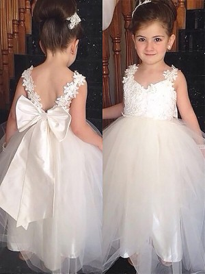 Ball Gown Sleeveless Sweetheart Tulle Floor-Length Bowknot Flower Girl Dresses