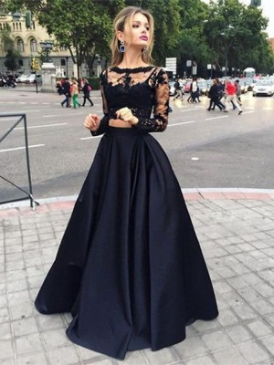 Ball Gown Long Sleeves Bateau Satin Floor-Length Beading Dresses