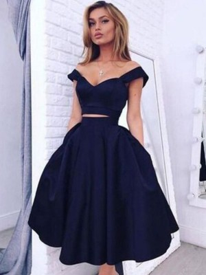 A-line/Princess Sleeveless Off-the-Shoulder Taffeta Tea-Length Dresses
