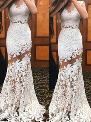 Trumpet/Mermaid Sleeveless Scoop Lace Sweep/Brush Train Dresses