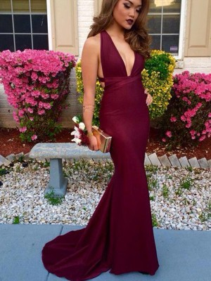 Trumpet/Mermaid Sleeveless V-Neck Spandex Sweep/Brush Train Dresses