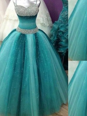 Ball Gown Sleeveless Spaghetti Straps Tulle Floor-Length Beading Dresses