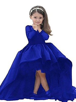 Ball Gown Long Sleeves Scoop Satin Sweep/Brush Train Sash/Ribbon/Belt Flower Girl Dresses