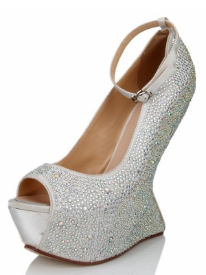 Women's Wedge Heel Silk Peep Toe With Rhinestone Platform Wedges Shoes