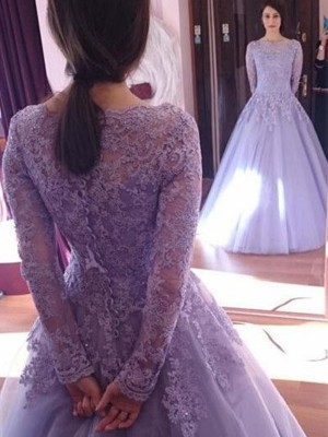 Ball Gown Long Sleeves Floor-Length Jewel Tulle Dresses