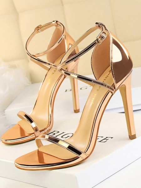 Patent Leather Stiletto Heel Peep Toe Ladies's Sandals