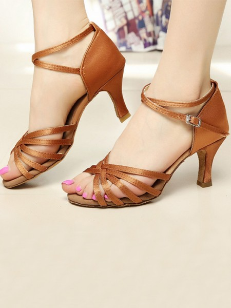 Ladies's Satin Cone Heel Peep Toe Sandals