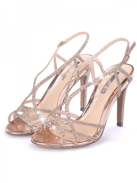 Ladies's Rhinestone Stiletto Heel Peep Toe Sandals