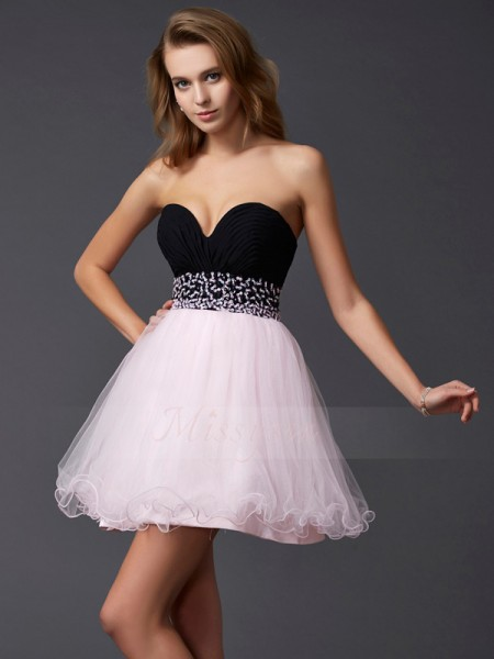 A-Line/Princess Sweetheart Short/Mini Sleeveless Elastic Woven Satin Beading Dresses