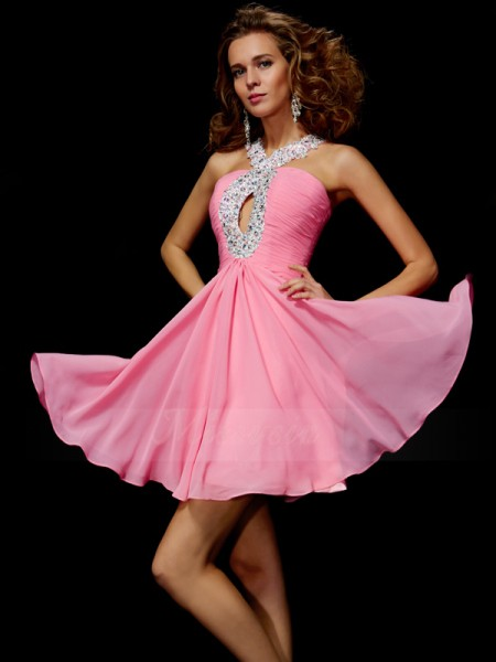 A-Line/Princess V-neck Short/Mini Sleeveless Chiffon Beading,Sequin Dresses