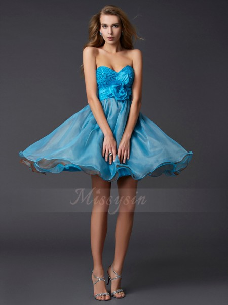 A-Line/Princess Sweetheart Short/Mini Sleeveless Taffeta,Paillette Dresses