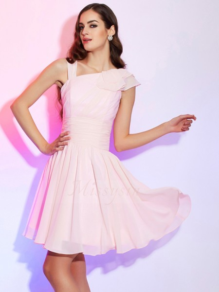 A-Line/Princess Other Short/Mini Sleeveless Chiffon Pleats Dresses