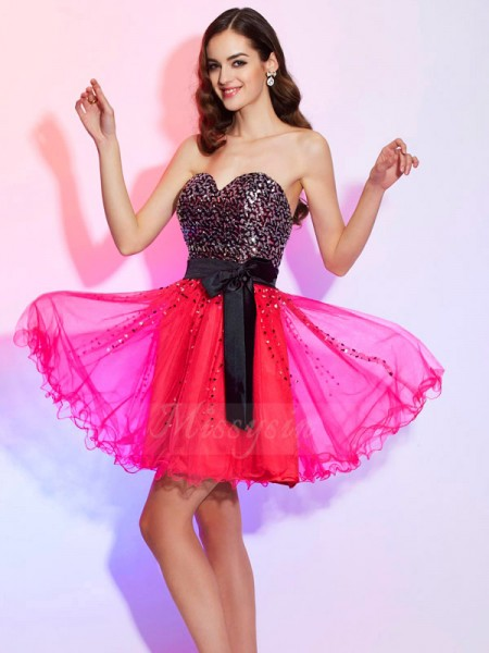 A-Line/Princess Sweetheart Short/Mini Sleeveless Organza Sash/Ribbon/Belt Dresses
