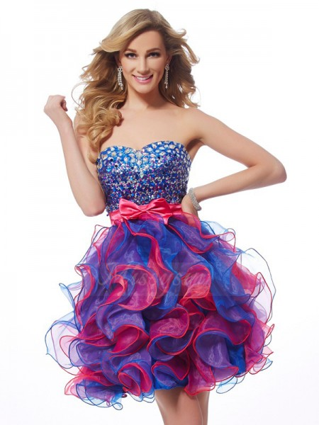 A-Line/Princess Sweetheart Short/Mini Sleeveless Organza Sequin Dresses