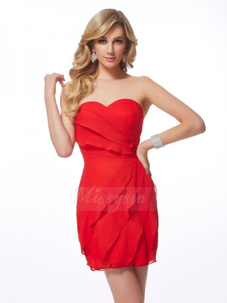 Sheath/Column Sweetheart Short/Mini Sleeveless Chiffon Ruffles Dresses