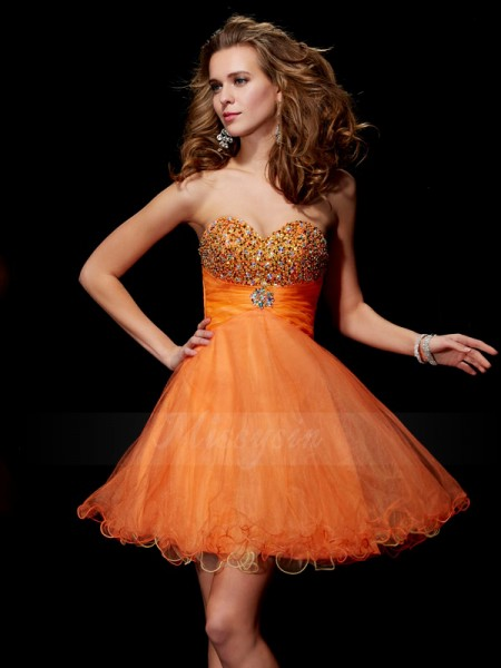 A-Line/Princess Strapless Short/Mini Sleeveless Organza,Satin Beading Dresses