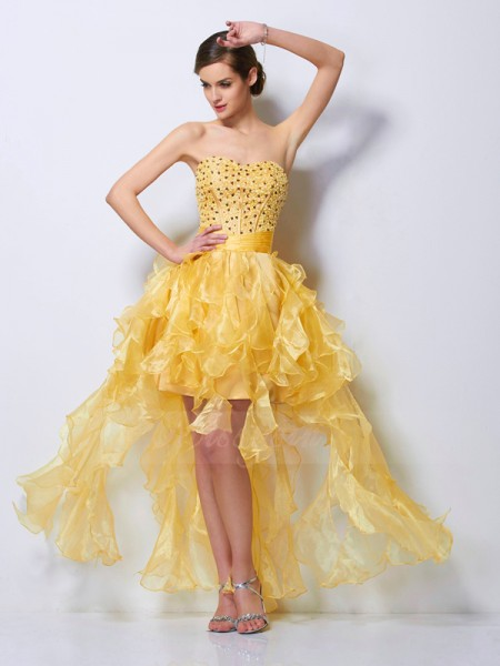 A-Line/Princess Sweetheart Asymmetrical Sleeveless Tulle Beading Dresses