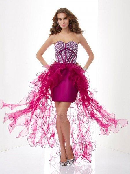 Sheath/Column Sweetheart Short/Mini Sleeveless Elastic Woven Satin,Tulle Beading Dresses