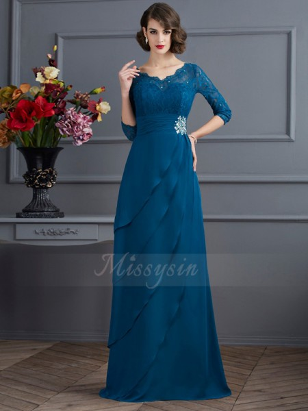 A-Line/Princess V-neck Floor-Length 3/4 Sleeves Chiffon Dresses