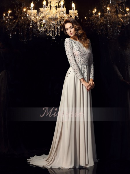 A-Line/Princess Scoop Court Train Chiffon Long Sleeves Beading Dresses