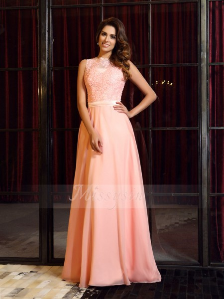 A-Line/Princess High Neck Sweep/Brush Train Chiffon Sleeveless Applique Dresses