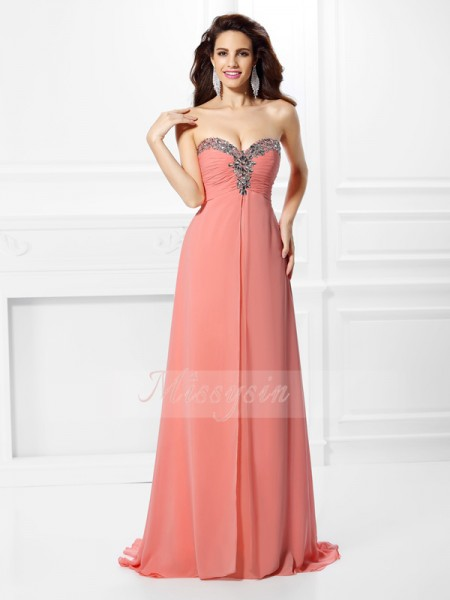 A-Line/Princess Sweetheart Sweep/Brush Train Chiffon Sleeveless Beading Dresses