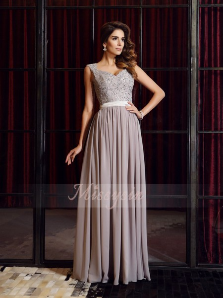 A-Line/Princess Straps Floor-Length Chiffon Sleeveless Applique Dresses