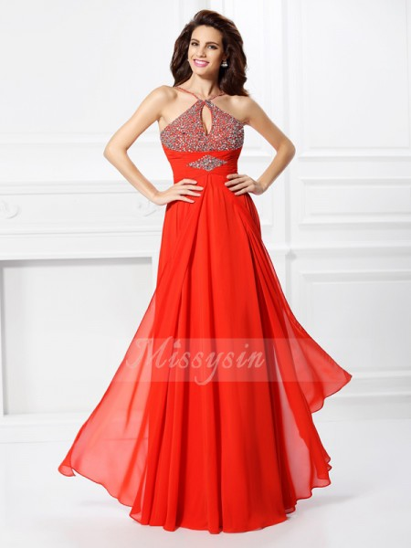 A-Line/Princess Other Floor-Length Chiffon Sleeveless Beading Dresses