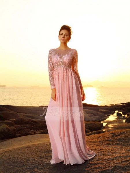 A-Line/Princess Bateau Sweep/Brush Train Chiffon Long Sleeves Beading Dresses