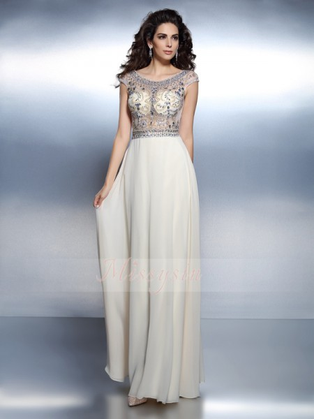 A-Line/Princess Bateau Floor-Length Chiffon Short Sleeves Beading Dresses
